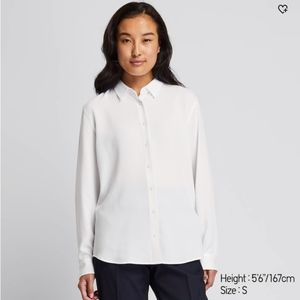 Uniqlo white short-sleeve blouse (long-slv in pic)